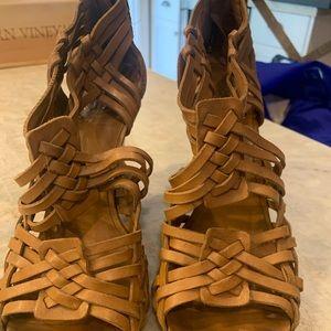 Tory Burch woven tan wedge heel